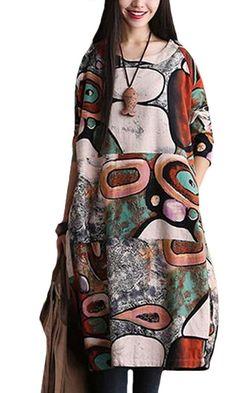 Voguees Frauen-Printing Round Kragen Langarm-Kleid Grün: Amazon.de: Bekleidung