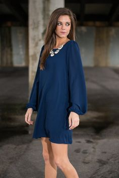 """""""Leave Me Reeling Dress, Navy"""" 