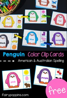 These free penguin color activities are geat for kids in preschool or kindergarten. The clip cards help kids to identify and match colors. Includes Australian spelling too. Learning Colors for Toddlers Color Activities Kindergarten, Preschool Color Theme, Color Activities For Toddlers, Colors For Toddlers, Preschool Activities, Kindergarten Centers, Book Activities, Free Preschool, Preschool Learning