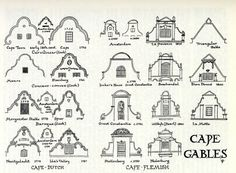 Drawing of Cape gables, depicting CAPE-DUTCH: Cape Town early century Cape… Studios Architecture, Colonial Architecture, Classic Architecture, Architecture Images, Architecture Details, Mediterranean Architecture, Dutch Colonial, Spanish Colonial, Spanish Style
