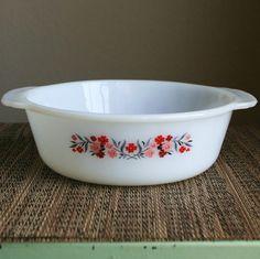 Vintage Fire King Primrose Floral Pattern Handled Casserole Dish
