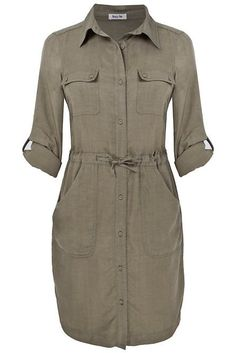 Clothing for Women : Lazy Lu Gray Tencel Shirt Dress.I like shirt dresses, okay? Linen Dresses, Casual Dresses, Casual Outfits, Fashion Outfits, Khaki Shirt Dress, Stil Inspiration, Safari Dress, African Fashion Dresses, Dress Patterns