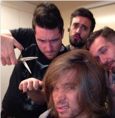 Dan threatening to cut Woody's hair and the face Kyle is making is just  and is Will caressing woody's hair?