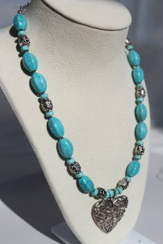 Turquoise Gemstone Beaded Necklace with Antiqued by studiogracie $29