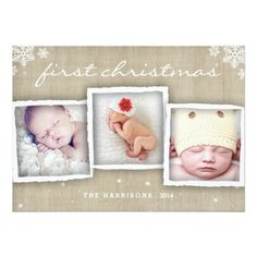 Baby's first Christmas. Whimsical Burlap Rustic Merry Christmas Photo Invitations card, customise with your own baby photos. Merry Christmas Card Photo, First Christmas Photos, Babies First Christmas, Merry Christmas And Happy New Year, Holiday Photo Cards, Christmas Greetings, Christmas Themes, Christmas Cards, Xmas