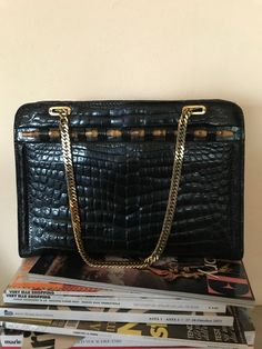 Rare Gucci vintage black purse, 50's era, golden chains and bamboo details