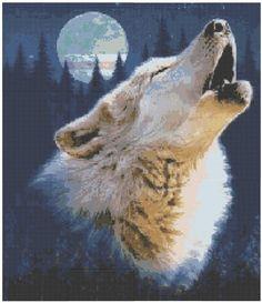 Howling Wolf Cross Stitch EPattern by jpcrossstitch on Etsy, $3.95