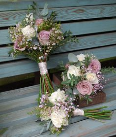 Vintage rose and gypsophila bridal bouquet (pretty with coin-eucalyptus and waxflowers mixed in)