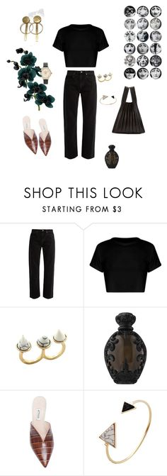 """Is She?!"" by futuraocculto ❤ liked on Polyvore featuring Yohji Yamamoto, Raey, Fornasetti, Olivia Burton, Kat Von D, Attico, gold, black, triangle and fornasetti"