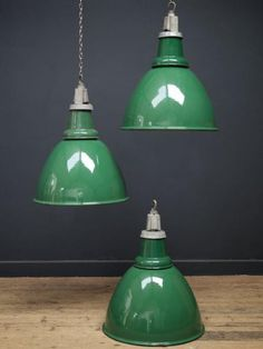 Green Enamel Industrial Pendant Lights
