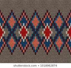 Similar Images, Stock Photos & Vectors of Abstract knitting ornamental seamless pattern with geometric color figures as a knitted fabric texture in blue, orange and beige colors - 595346864 Pattern Paper, Fabric Patterns, Beading Patterns, Knitting Stitches, Embroidery Stitches, Knitting Patterns, Cross Stitch Designs, Cross Stitch Patterns, Willow Weaving