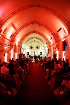 Wedding Ceremony with red up lighting #YourMiamiWedding