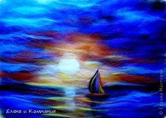 Картина панно рисунок Валяние фильцевание Картина из шерсти Одинокий парус Шерсть фото 1