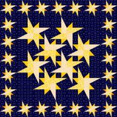 Galaxystar quilt block, foundation paper piecing, free