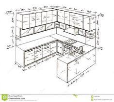 How To Draw Interior Design Sketches Kitchen Layout Plans, Kitchen Cabinet Layout, Kitchen Room Design, Best Kitchen Designs, Home Room Design, Modern Kitchen Design, Home Decor Kitchen, Drawing Interior, Interior Design Sketches