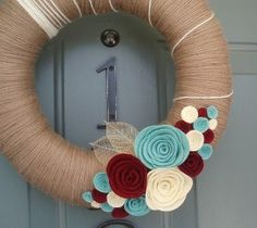 Yarn Wreath Felt Handmade Door Decoration - Soft Taupe 12in... | Shop food| Kaboodle