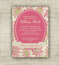 vintage #Victorian baby shower invitations $12 www.cardtopiadesigns.com