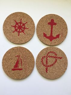 Nautical themed coasters are a great addition to your drink ware and table settings. Each set of 4 contains an Anchor, a Sailor's Knot, a Sail Boat and a Ship's Wheel. Each set is hand stenciled using