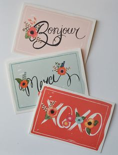 Greeting note cards Set of 6/Assorted (2 of each design)