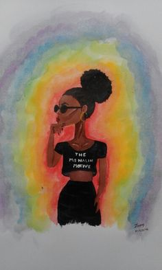 Water Colours and Acrylics: The Menelin Motive (black girls be popping) ✊✊
