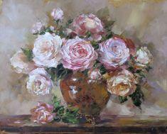 Roses in the yellow glass vase by Russian artist, Oksana Kravchenko (1971) Russia