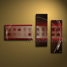 Large Modern Abstract Painting Oil Painting On Canvas Panels Gallery Stretched Abstract. This 3 panels canvas wall art is hand painted by Bo Yi Art Studio, instock - $148. To see more, visit OilPaintingShops.com
