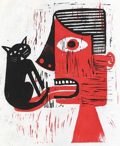 """The cat got his tongue . . .""""Silence"""" by Illustration Ben, via Flicker"""