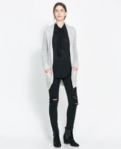 ZARA - WOMAN - CABLE KNIT CARDIGAN WITH LAPEL
