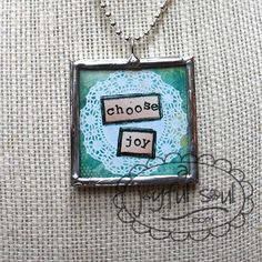 CHOOSE JOY Doily Design Art Charm Pendant by AJoyfulSoulGifts, $22.00