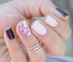 ella + mila classy flower nail art plum and pink