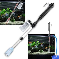 This is a BasAcc aquarium fish tank gravel siphon vacuum cleaner. This battery-powered cleaner will clean your gravel and catch dirt without doing a water change. This vacuum cleaner can also be used
