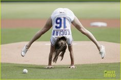 Laurie Hernandez first pitch   Laurie Hernandez Flips Out Before Throwing First…
