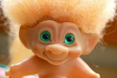 Vintage Scandia House Troll Doll from 1960s with Original Green Spiral Eyes ♥♥  AND if you rubbed on it's belly your wish would come true.  How compelling for a teenage girl in the 60's?