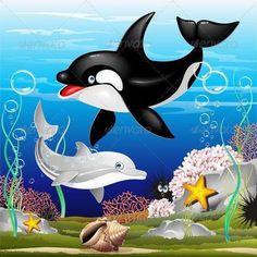 I Dolfijnen En Orka Beeldverhaal Over De Oceaan Royalty Vrije Cliparts, Vectoren, En Stock Illustratie. Sea Animals Drawings, Cartoon Sea Animals, Cartoon Dolphin, Cartoon Cartoon, Cartoon Drawings, Cartoon Characters, Whale Drawing, Whale Painting, Kawaii