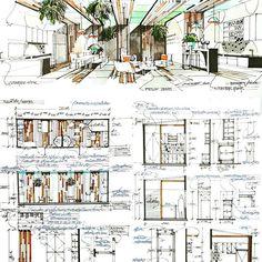 #sketchdesign #elevation #section #detail #layoutplan #interiordesign Interior Design Presentation, Interior Design Courses, Interior Design Sketches, Interior Design Images, Interior Rendering, Interior Architecture, Autocad, Schematic Design, Architecture Sketchbook