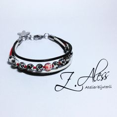 Leather bracelet with steel accessories and porcelain by Z.Aless.