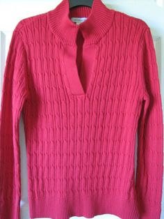 LIZ CLAIBORNE Long Sleeve Split Mock Neck Cable Sweater Large Red Ret $40 NWT #LizClaiborne #TurtleneckMock.  Great cherry red color in a 100% cotton sweater.