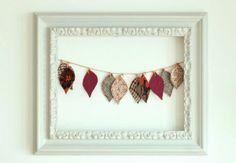 Handmade Fall garland of leaves, by Mundo Flo