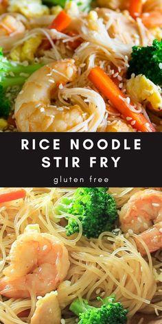 Healthy Rice Noodles, Fried Rice Noodles, Stir Fry With Rice Noodles, Recipes With Rice Noodles, Shrimp Noodle Stir Fry, Chinese Rice Noodles, Vermicelli Rice Noodle Recipe, Vermicelli Recipes, Asian Noodle Recipes