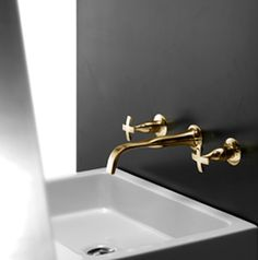 Brass is set to make a comeback. There's something special about brass, but it can be quite high maintenance. Nickel is comparatively easy to look after. Decorating Tips, Dream Bathrooms, Brass, Fixtures, Wall Mount, Gold Taps, Home Decor, Brass Tap, Bathroom