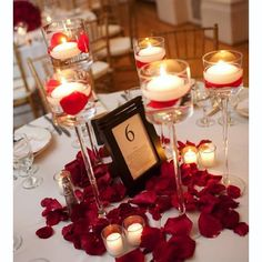 Petals and Candles to Decorate Valentine's Day Party Table