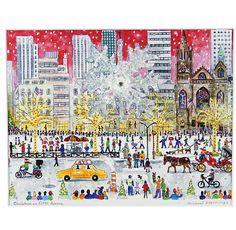 "Michael Storrings Christmas on Fifth Ave Print, 11"" x 14"""