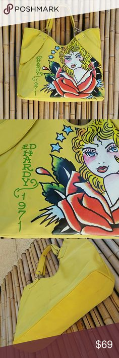 Ed Hardy large yellow tote 13 x 18 x 5  💲Bundle & Save!💲😀 🚫No Trades/No Holds 🙄😘  🔘Use OFFER button to negotiate👍🤑 ❔Please Ask ?'s BEFORE you Buy🤔😃 💕Thank you for shopping my closet!💕 Ed Hardy Bags Totes