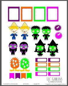 A set of planner stickers with Halloween characters for vertical weekly planners or other types of papercrafts. Free for personal use only. Free Planner, Happy Planner, Planner Ideas, Printable Planner Stickers, Free Printables, Project Life, Planner Organization, Organizing, Halloween Stickers