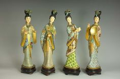 Antique Chinese Cloisonne Figures with Ivory Face/Hands.