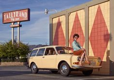 Nicole Dreyfuss and her 1971 411 Squareback, Burbank, California.