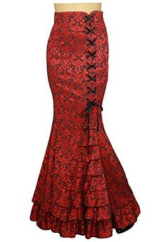 1292b8afd90 XS28 Shimmery Night in London Red Victorian Fishtail Gothic Vintage Style  Skirt Small