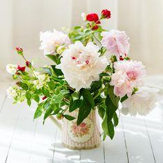 Букет белых пионов с розами