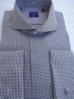 Brown Gingham Cutaway Collar French Cuff Dress Shirt
