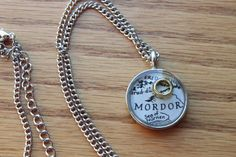 Lord of the Rings LOTR Map Pendant, Necklace with Silver Chain, One Ring, Middle Earth, Geek Jewelry, Geekery, Mt Doom, Mordor, Sauron, Evil...